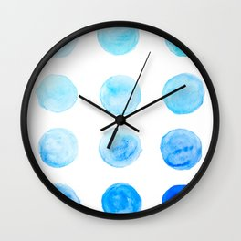 Calming Blue Watercolor Circles Wall Clock