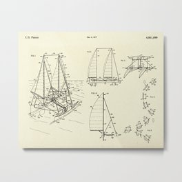 Outrigger Sailboat-1977 Metal Print