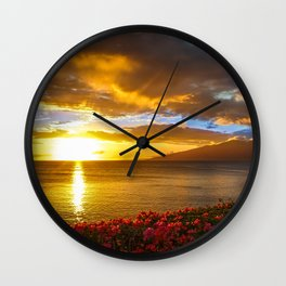 Honokeana Cove Sunset 2 Wall Clock