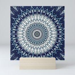 Indigo Navy White Mandala Design Mini Art Print