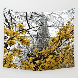 Eiffel Tower yellow flowers Wall Tapestry