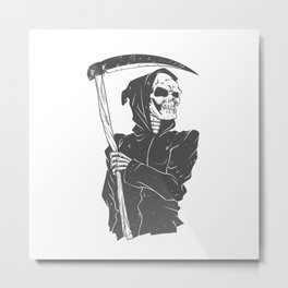 Grim reaper black and white Metal Print