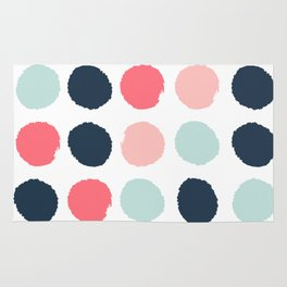 Dots painted coral mint navy pink pattern dotted polka dot minimalist Rug