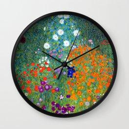 Gustav Klimt Flower Garden Wall Clock