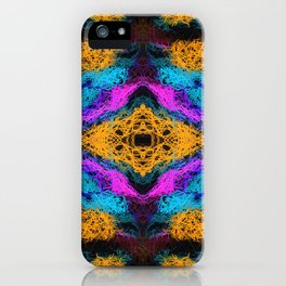 indian psychedelic graffiti drawing abstract in pink orange blue iPhone Case