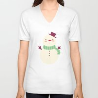 snowman V-neck T-shirts featuring Snowman by Claire Lordon