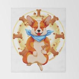 Zen corgi Throw Blanket