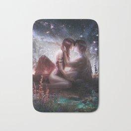 Counting stars - Romantic couple kissing Bath Mat