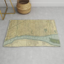 Vintage Map of Detroit Michigan (1895) Rug