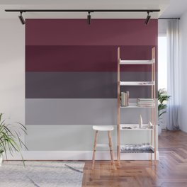 scandinavian moody winter fashion dark red plum burgundy grey stripe Wall Mural