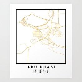 ABU DHABI UNITED ARAB EMIRATES CITY STREET MAP ART Art Print