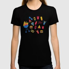 Summer BBQ Pattern - Blue Red Yellow T-shirt