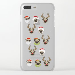 Xmas Pugs Clear iPhone Case