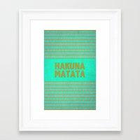 hakuna Framed Art Prints featuring Hakuna Matata by M Studio