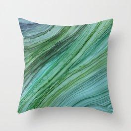 Green Agate Geode Slice Throw Pillow
