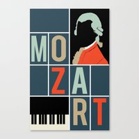 mozart Canvas Prints featuring Mozart  by Prelude Posters