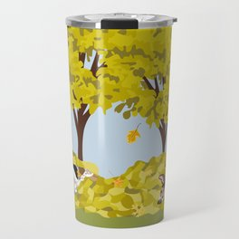 Coonhounds playing in autumn leaves Travel Mug