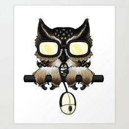 Gaming Owl Art Print