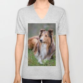 He #looks #like #Lässie this #beautiful #American #collie Unisex V-Neck