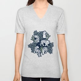 Nouveau white tigers // navy blue background green leaves silver lines white animals Unisex V-Neck