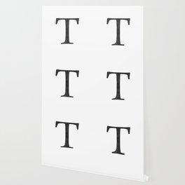 Letter T Initial Monogram Black and White Wallpaper