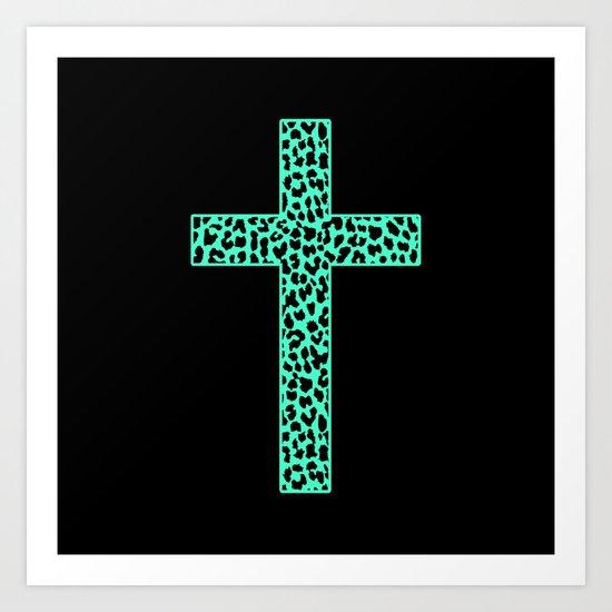 Mint Leopard Cross Art Print