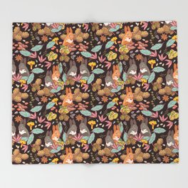 nuts and squirrels Throw Blanket