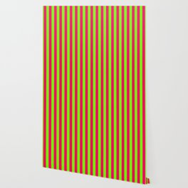 Super Bright Neon Pink and Green Vertical Beach Hut Stripes Wallpaper