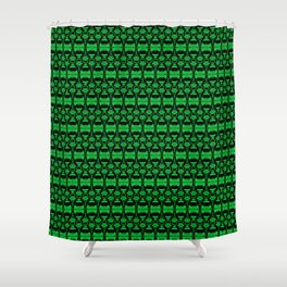 Dividers 02 in Green over Black Shower Curtain
