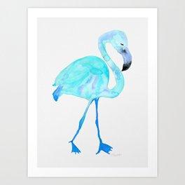 Aqua Watercolor Flamingo Art Print