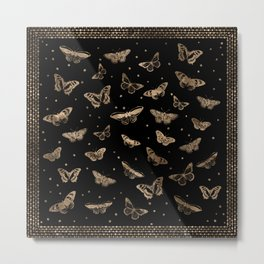 Butterfly pattern black and gold Metal Print