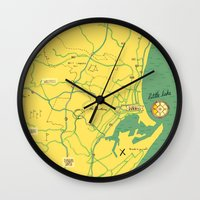 maps Wall Clocks featuring Maps - Durban by DRIEHOEK