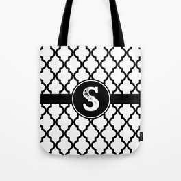 Black Monogram: Letter S Tote Bag