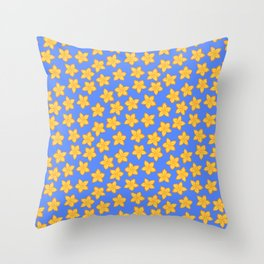 Small Yellow Flowers on Blue Throw Pillow
