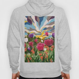 Field of Dreams, Floral Landscape, Abstract Floral Landscape, Acrylic floral field Hoody