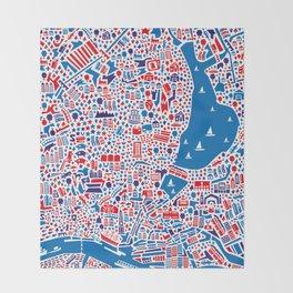 Hamburg City Map Poster Throw Blanket