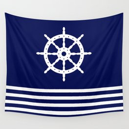 AFE Navy & White Helm Wheel Wall Tapestry