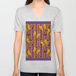Golden Butterflies Puce Purple Deco Pattern Art Unisex V-Neck