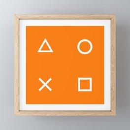 Orange Gamer Pattern Framed Mini Art Print