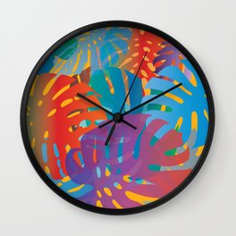 Colorful monstera leaves 2 - gradients Wall Clock