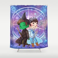 glee Shower Curtains featuring Defying Gravity by Sunshunes