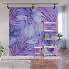 TROPICAL FERNS AND FLOWERS IN SHADES OF mid blue, purples and navy blue Wall Mural
