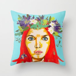 Red haired girl with flowers in her hair Throw Pillow