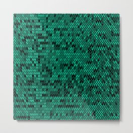 Green knitted textiles Metal Print
