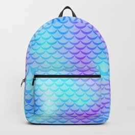 Mint Blue Mermaid Tail Abstraction. Cool Fish Scale Pattern Backpack