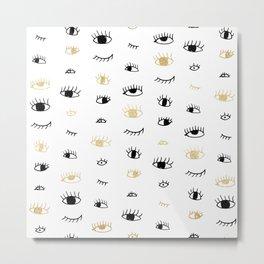Funny fashion gold and black cute eyes pattern Metal Print