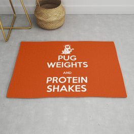 Pug Weights and Protein Shakes Rug