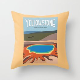 Grand Prismatic Spring, Yellowstone National Park, Wyoming Travel Poster Throw Pillow
