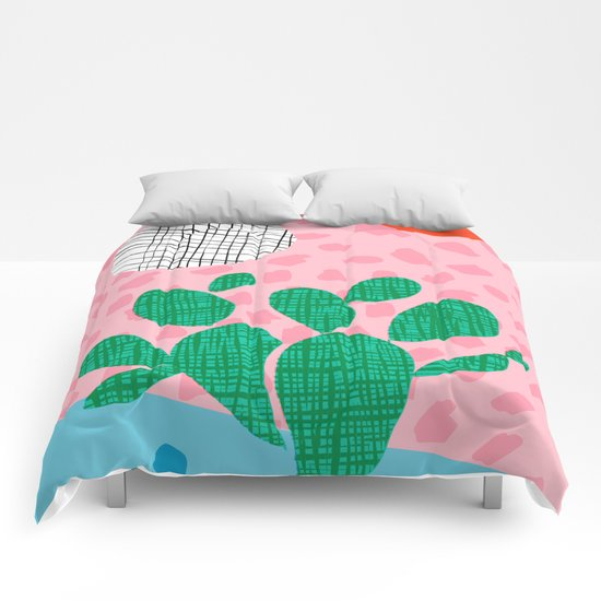 Lampin' - memphis throwback style retro neon cactus desert palm springs california southwest hipster Comforters