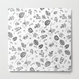 Scattered Garden Herbs, Black and White Metal Print